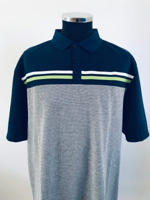 !Clearance! Island Green Men's Laid on Stripe Polo Shirt