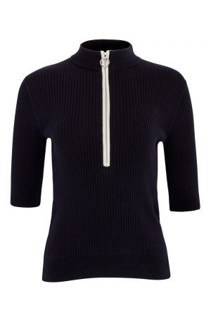 SS20 Swing Out Sister Carmel Ribbed Zip Polo (navy/white)