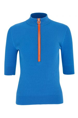 SS20 Swing Out Sister Monterey Cotton Zip Polo (royal blue)