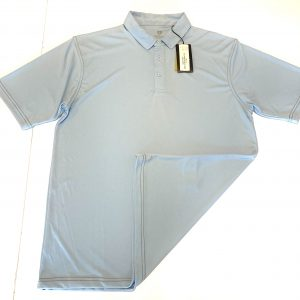 Men's Island Green Contrast Stitch Polo – Chambray Blue/Charcoal