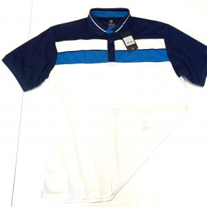 Men's Island Green Panel Detail Polo Size Large – White/Ink/Sky Azure