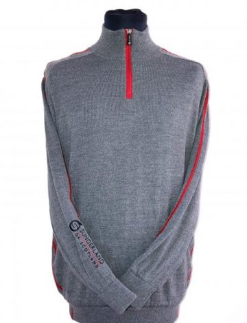 Men's Sunderland Dolphin Lined Zip Neck Sweater Size M – Grey/Red