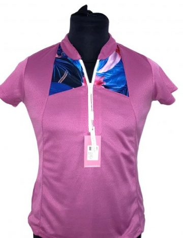 Women's Swing out Sister Haiti Pattern Cap Sleeve Polo Shirt Size S – Super Pink
