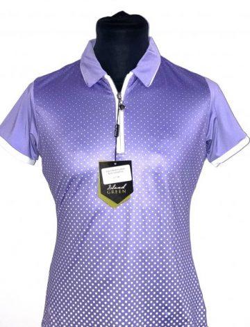 Women's Island Green Sublimated Zip Neck Polo – Lavender/White