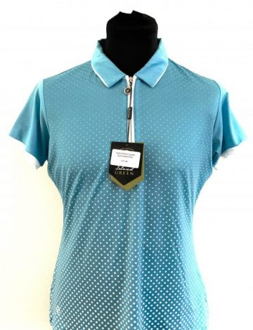 Women's Island Green Sublimated Zip Neck Polo Size 14- Deep Pool / White